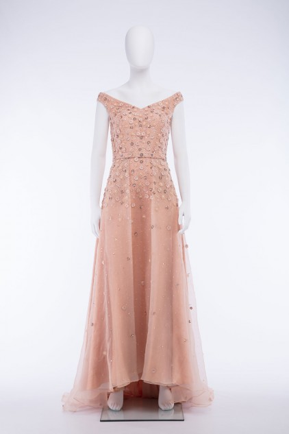 Natasha Hand Embroidered Sequin Embellished Maxi Dress