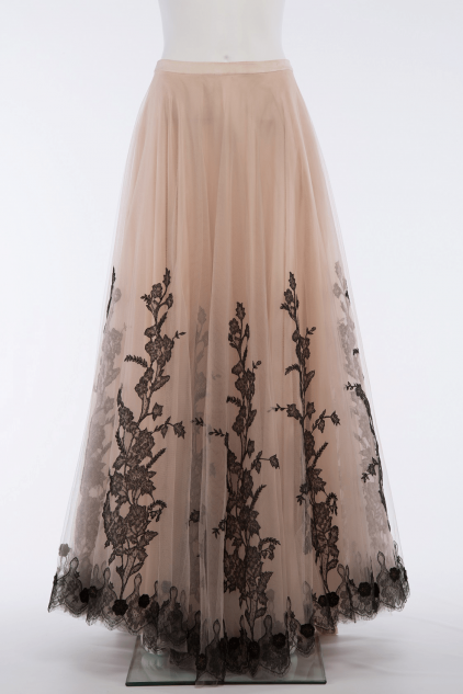 Elizabeth 04B Vintage Tulle French Lace Maxi Skirt
