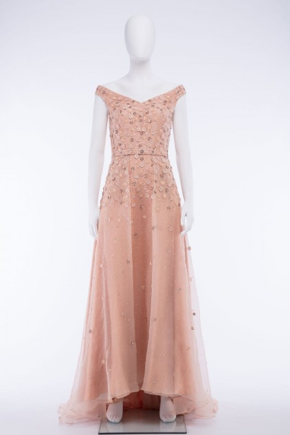 Annabelle Hand Embroidered Sequin Embellished Maxi Dress