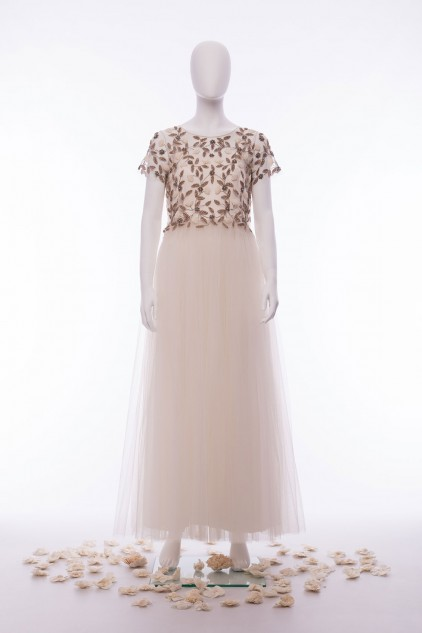 Leah Ivory Satin Tulle Hand Embellished Sequin Wedding Dress