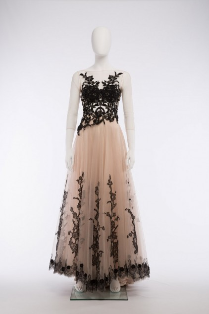 Elizabeth 04 Vintage Tulle French Lace Maxi Skirt and Black Sequin Top