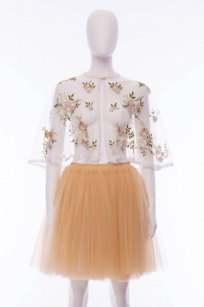 Woodlands floral embroidered tulle Cape Shawl Wrap