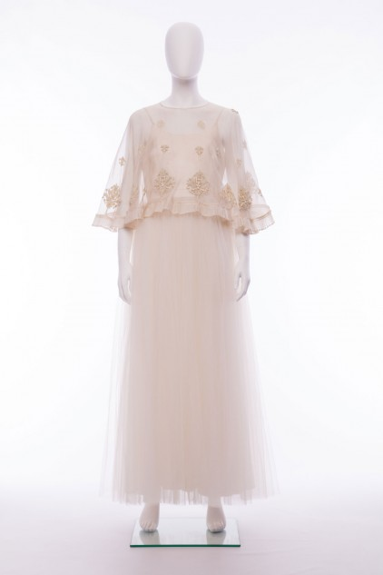 Isla Ivory Satin Sequin Bridal Cape Dress