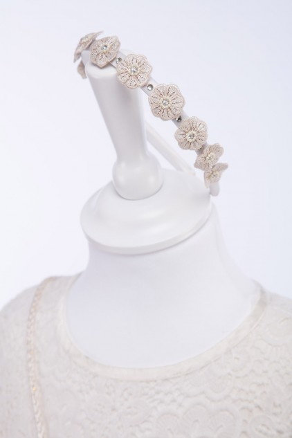 Ivory Satin Hairband with Swarovski stones and hand embroidered flowers