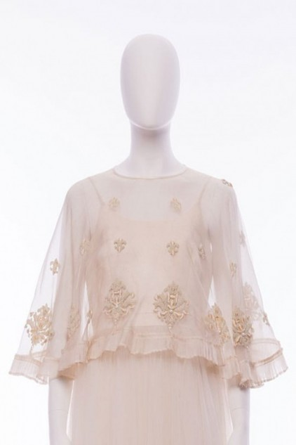 Isla Vintage Hand Embellished Pearl Beads and Sequin Ivory Organza Cape