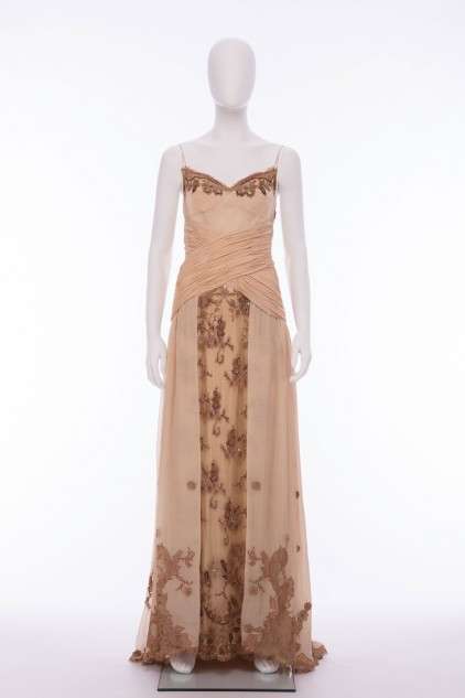 Isabella 02 Vintage Chiffon Ruched Long Dress