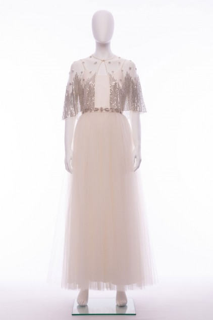 Anastesia Ivory Silver Sequin Wedding Bridal Dress