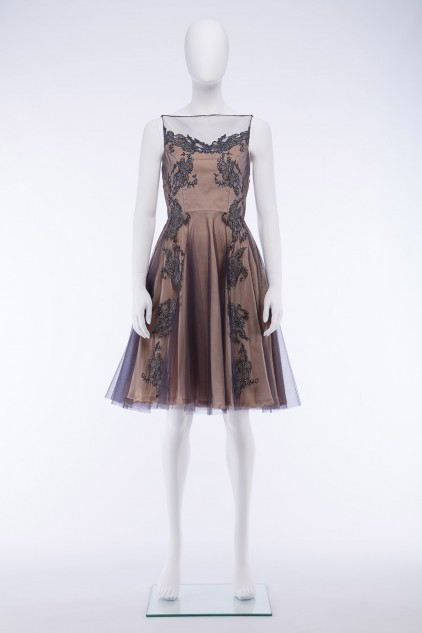 Jane 01 Two Tone Tulle French Lace Cocktail Evening Party Dress