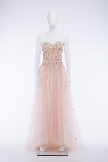 Elizabeth 05 Special Occasion Tulle French Lace sequin Embroidered Strapless Sweetheart Neck Wedding Dress
