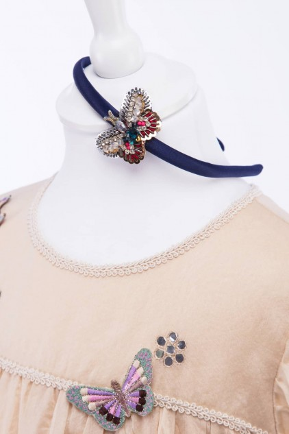 Navy Blue Satin Hairband with Sparkly Hand Embellished Butterfly