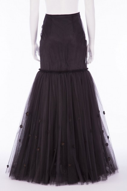 Charlotte 01B Victorian Black Tulle Fish Tail Skirt