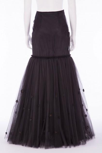 Charlotte 01B Victorian Black Tulle Fish Tail Skirt