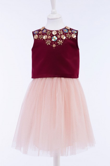 Belle Embellished Crop Top Tulle Skirt