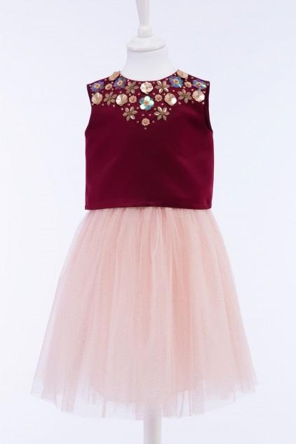 Belle Embellished Crop Top Tulle Skirt