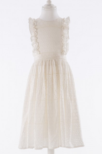 Christina White Cotton Eyelet Embroidered Dress