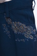 Jane 02B Vintage Navy Blue French Lace Crepe Trouser