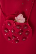 Round Red Satin Floral Embroidered Pouch for Girls