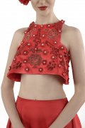 Lydia 01A  Satin Red Tunic Crop Top