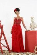 Lydia 02 Red Black Tie Prom Formal Evening Gown