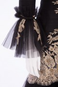 Charlotte 01 Victorian Black & Gold French Lace hand embellished evening Skirt Jacket