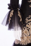 Charlotte 01T Victorian Black & Gold French Lace hand embellished evening long Jacket suit