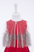 Luxury Silver Sequin Embellished Cape for girls