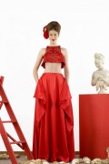 Lydia 01 Red Maxi Skirt and Tunic Crop Top
