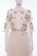 Maisie Ivory Satin Embroidered Tulle Woodlands Cape Wedding Dress