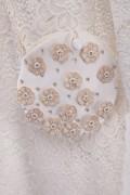 Round White Satin Floral Embroidered Pouch for Girls