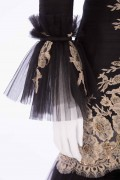 Charlotte 01A Victorian Gold French Lace hand embellished Black Evening Jacket