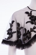 Charlotte 01C Vintage French Lace Ruffle Black Cape