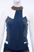 Jane 02A Vintage Navy Blue Antique Gold Embellished Contemporary Corset Top